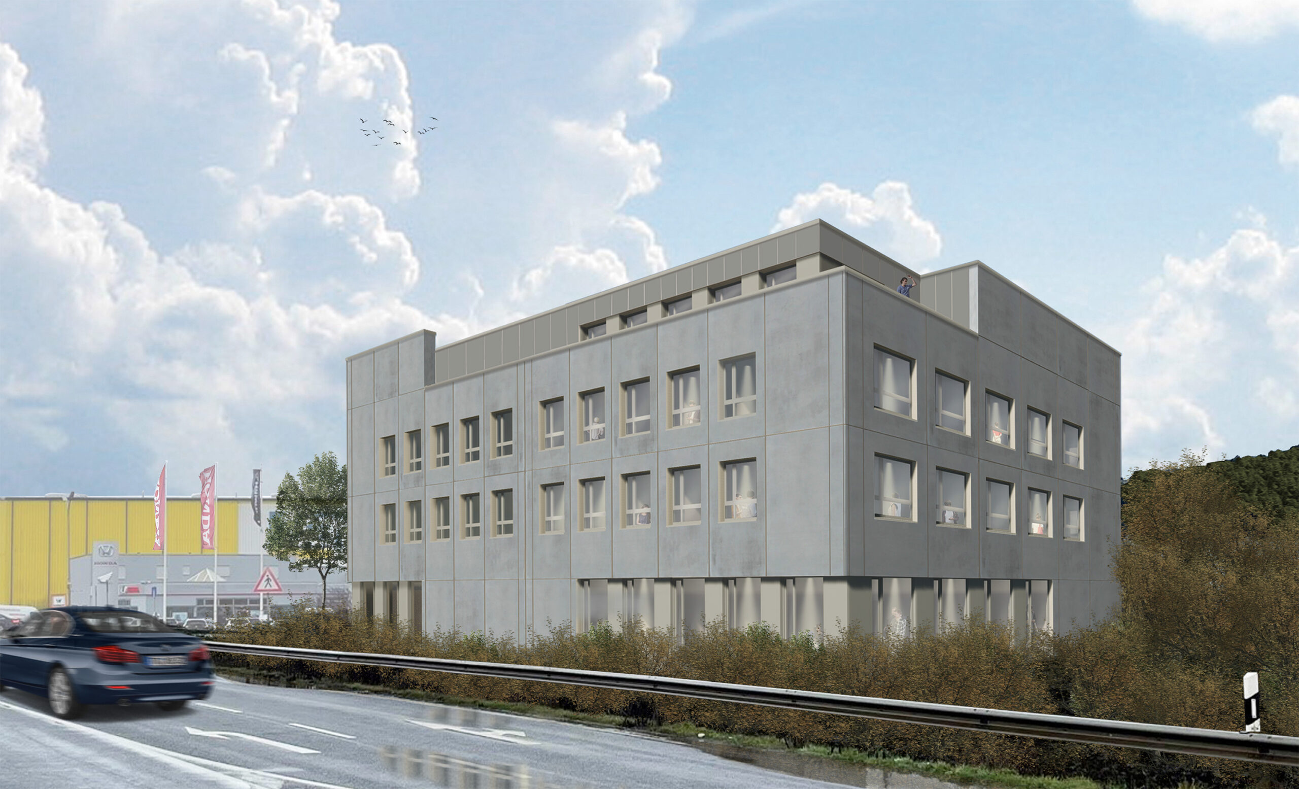 1 Haus II am Hafen Perspektive Neubau Gewerbe scaled